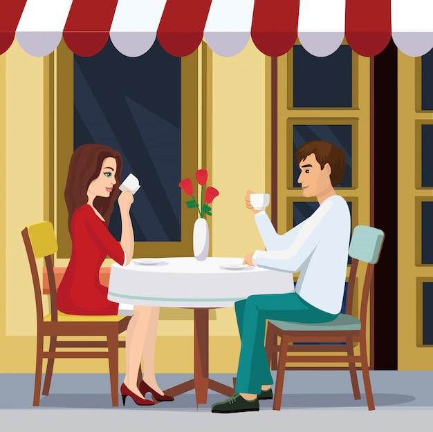 Illustratie van mooie paar drinkt koffie in een café. een man en een vrouw zitten in vlakke stijl aan een tafel buiten een restaurant.