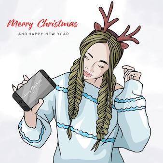 Illustratie van mooie vrouw die hertenhoofdband en smartphone met kleurrijk kerstmisthema gebruikt