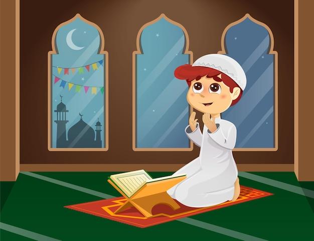 Illustratie van moslimjongen die in moskee bidt