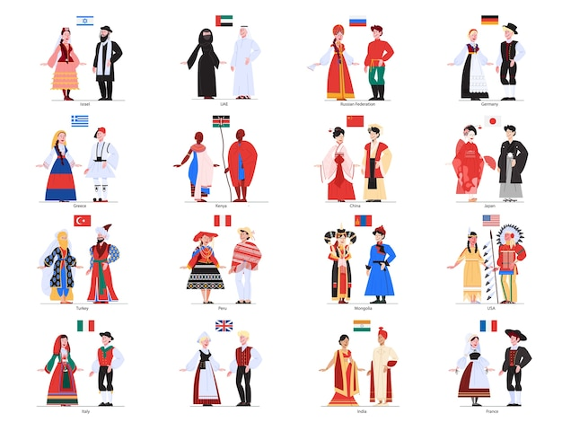 Illustratie van multiculturele mensen die in hun nationale kostuums staan.