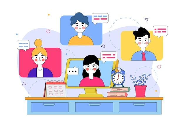 Illustratie van multiplayer netwerkvideoconferenties