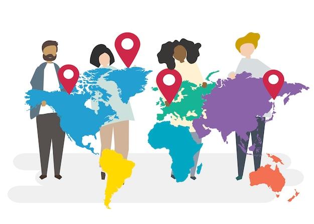 Illustratie van multiraciale karakters met globaal concept