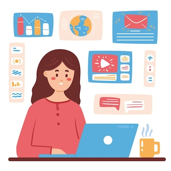 Illustratie van multitasking concept