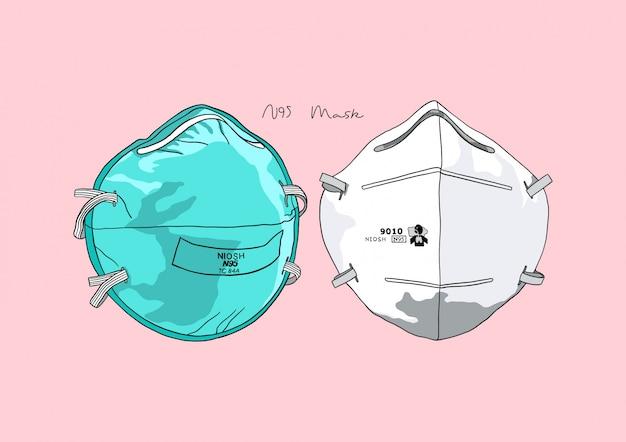 Illustratie van n95-masker / chirurgisch masker / gezichtsmasker / medisch masker