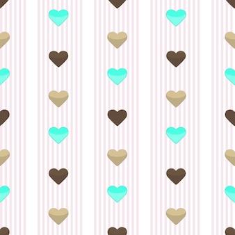Illustratie van naadloos hart roze gestript patroon