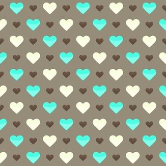 Illustratie van naadloos patroon met leuke kleurrijke harten op een bruine achtergrond