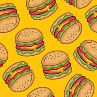 Illustratie van naadloze hamburger patroon kaas