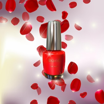 Illustratie van nagellak en rozenblaadjes