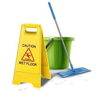 Illustratie van natte vloer voorzichtigheid geel bord met emmer water en dweil.