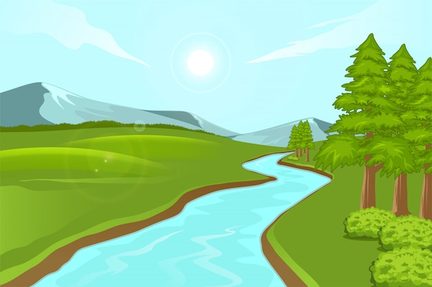 Illustratie van natuurlijk landschap van bergen met weiden en rivieren