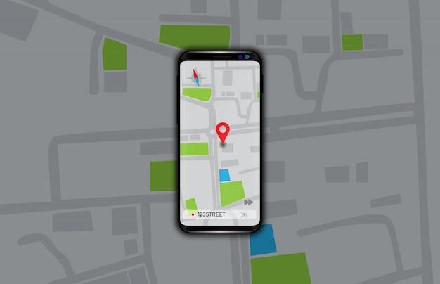 Illustratie van navigatie gps kaarten applicatie op slimme mobiele telefoon