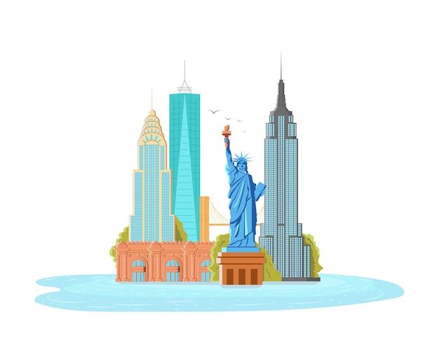 Illustratie van new york city, landschap van gebouwen en het vrijheidsbeeld, empire state building, metropolitan museum