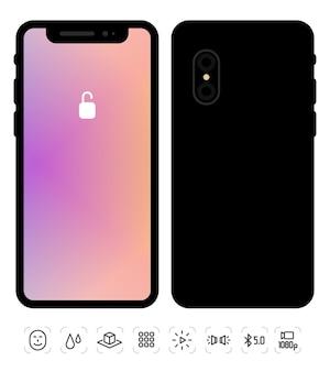 Illustratie van nieuwe mobiele telefoon voor- en achterkant