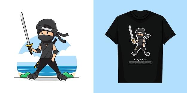 Illustratie van ninja die een katanazwaard met t-shirtontwerp houdt