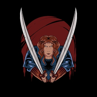 Illustratie van ninja met zwaard in bloedige nacht voor t-shirtontwerp
