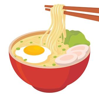 Illustratie van noedelsoep met ei, vlees en mosterdgroenten met noedels gegrepen met stokjes in een rode kom