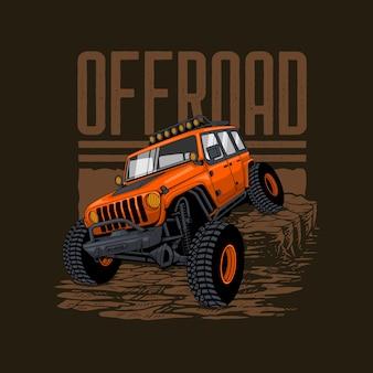 Illustratie van offroad-voertuig in de rotsachtige bergen Premium Vector