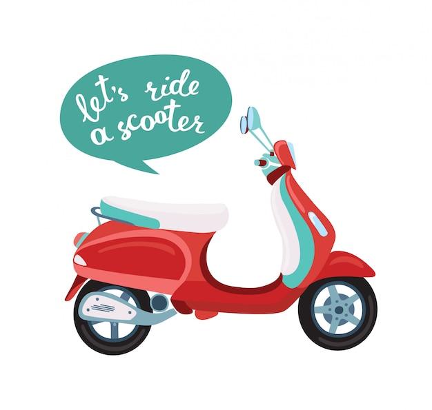 Illustratie van old school scooter en handschrift belettering woorden laten we rijden een scooter