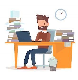 Illustratie van ongelukkig moe zakenman zit aan de balie met computer en veel papieren en documenten. veel werk voor manager-karakter. bedrijfsconcept in platte cartoon stijl.