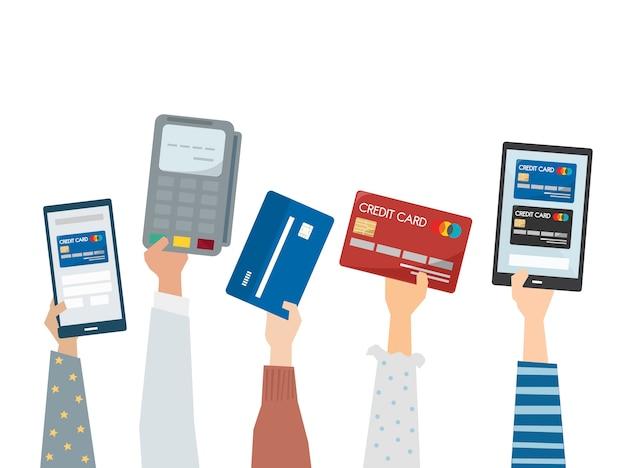 Illustratie van online betaling met creditcards