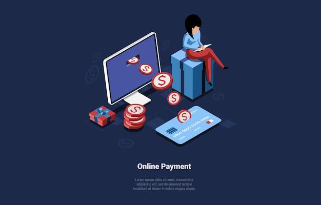 Illustratie van online betalingsconcept.