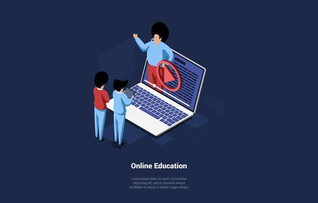 Illustratie van online onderwijsconcept.