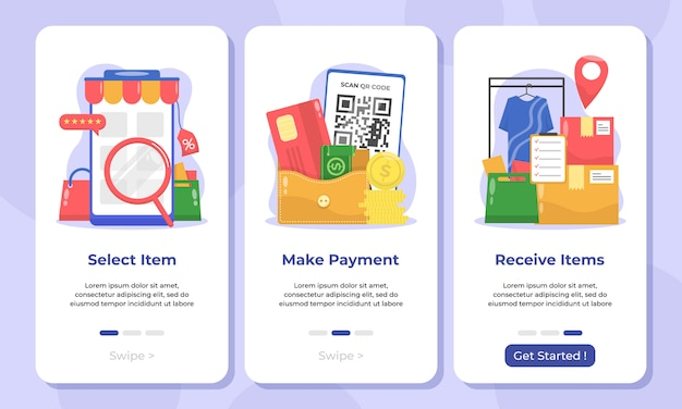 Illustratie van online winkel in onboarding-schermen voor mobiele apps