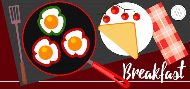 Illustratie van ontbijt op de tafel.