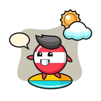 Illustratie van oostenrijk vlag badge cartoon surfen op het strand