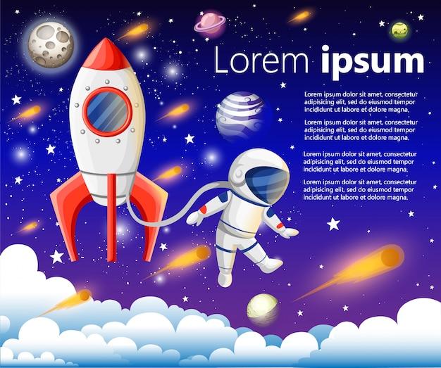 Illustratie van open boek met ruimte-elementen - zonnestelsel, spaceshuttle, planeten, sterren, aarde, komeet. verbeeldingsconcept gemaakt in vlakke stijl.