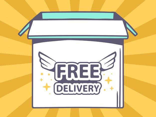 Illustratie van open doos met pictogram van gratis levering op oranje patroon achtergrond.