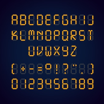 Illustratie van oranje digitale led lettertype en cijfers met borden