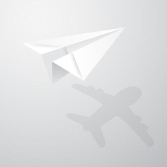 Illustratie van origamidocument vliegtuig op witte achtergrond.