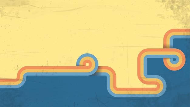 Illustratie van oude grunge oude stijl uitstekende twee kleurenachtergrond met kleurrijke streep Premium Vector