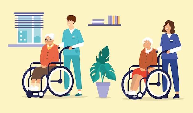 Illustratie van oudere mensen in rolstoelen met een verpleegster en een zorgassistent in het interieur van een verzorgingshuis.