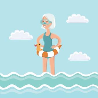 Illustratie van oudere vrouw in zeewater met duikbril op haar gezicht en duikbuis in zijn hand