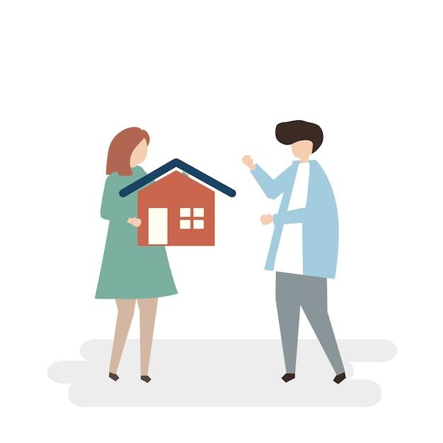 Illustratie van paar dat een nieuw huis koopt