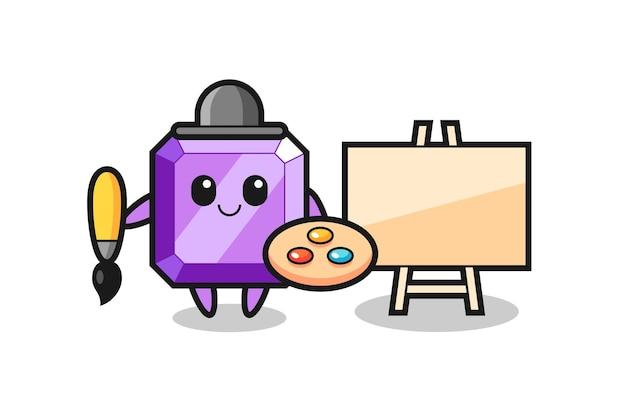 Illustratie van paarse edelsteenmascotte als schilder, schattig stijlontwerp voor t-shirt, sticker, logo-element