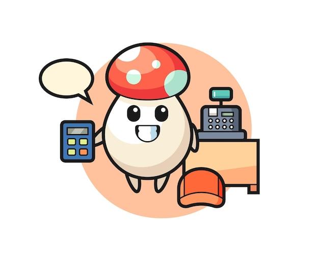 Illustratie van paddenstoelkarakter als kassier, schattig stijlontwerp voor t-shirt, sticker, logo-element