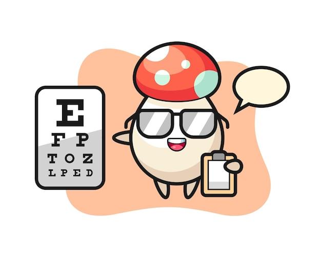 Illustratie van paddestoelmascotte als oogheelkunde, schattig stijlontwerp voor t-shirt, sticker, logo-element