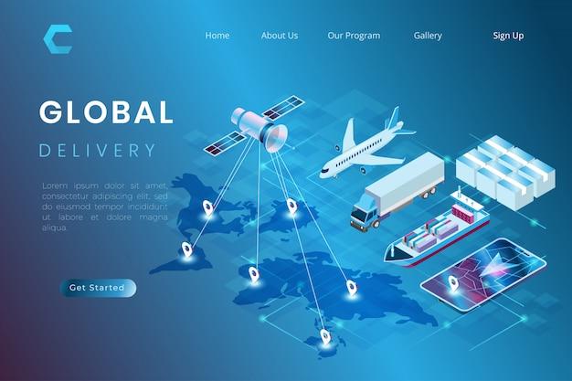 Illustratie van pakketlevering met de voortgang van transport, het proces van verzending naar de hele wereld per schip, vliegtuig, vrachtwagen in isometrische 3d-illustratiestijl