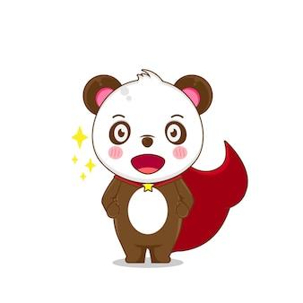 Illustratie van panda als superheld