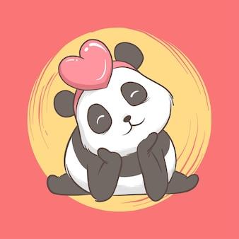 Illustratie van panda met hart. kaart en achtergrond