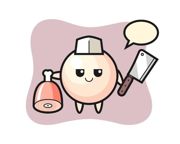 Illustratie van parelkarakter als slager