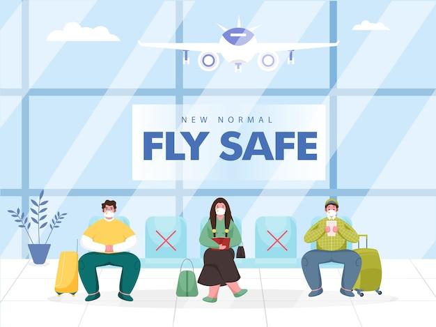 Illustratie van passagierskleding beschermend masker zit op de stoel