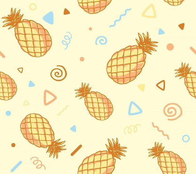 Illustratie van pastel kleurenpatroon met ananas op gele achtergrond.