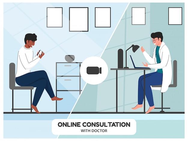 Illustratie van patiënt die van videogesprek met een arts voor online overlegconcept spreekt.