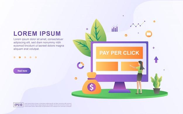 Illustratie van pay per click concept. mensen klikken op de advertentie, de uitgever wordt betaald telkens wanneer er op een advertentie wordt geklikt.