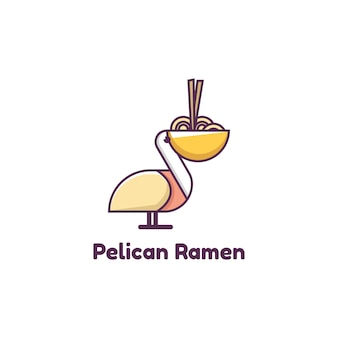 Illustratie van pelican ramen logo, pictogram, sticker ontwerpsjabloon