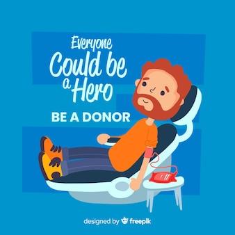 Illustratie van persoon die bloed schenkt